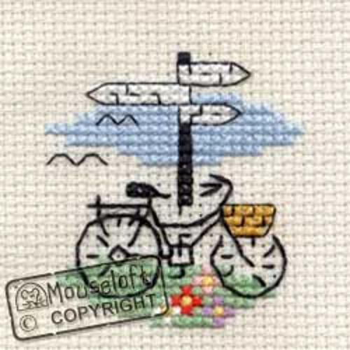 Stitchlets Cross Stitch Kit - Bicycle & Signpost - Giggle Factory