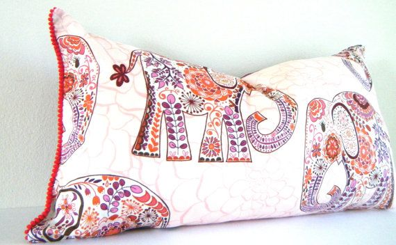 Decorative Pillows For Twin Bed : Pink, purple Lucky Elephant Pillow, bohemian Bedding, Boho style girls Room Decor, Twin size ...