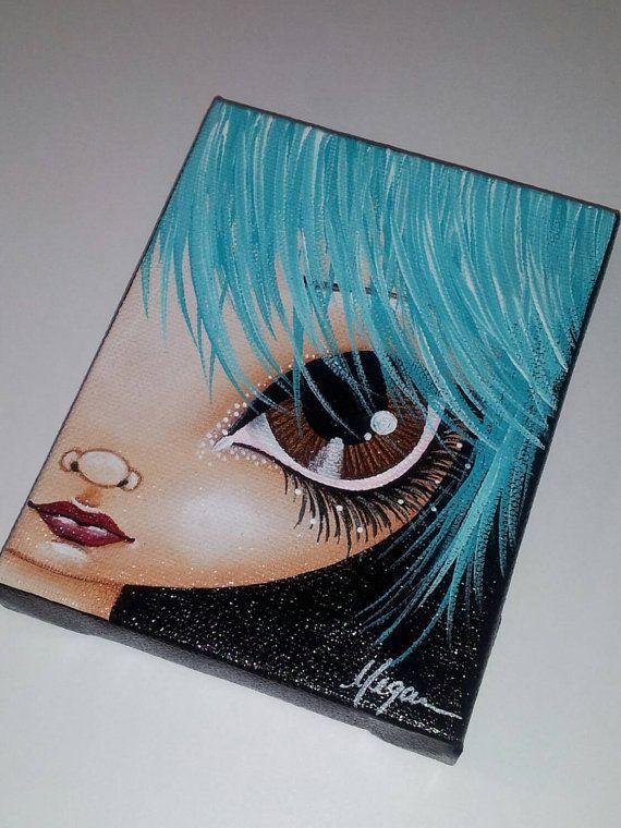 Hey, I found this really awesome Etsy listing at https://www.etsy.com/listing/260471660/aqua-hair-big-eye-girl-original-canvas