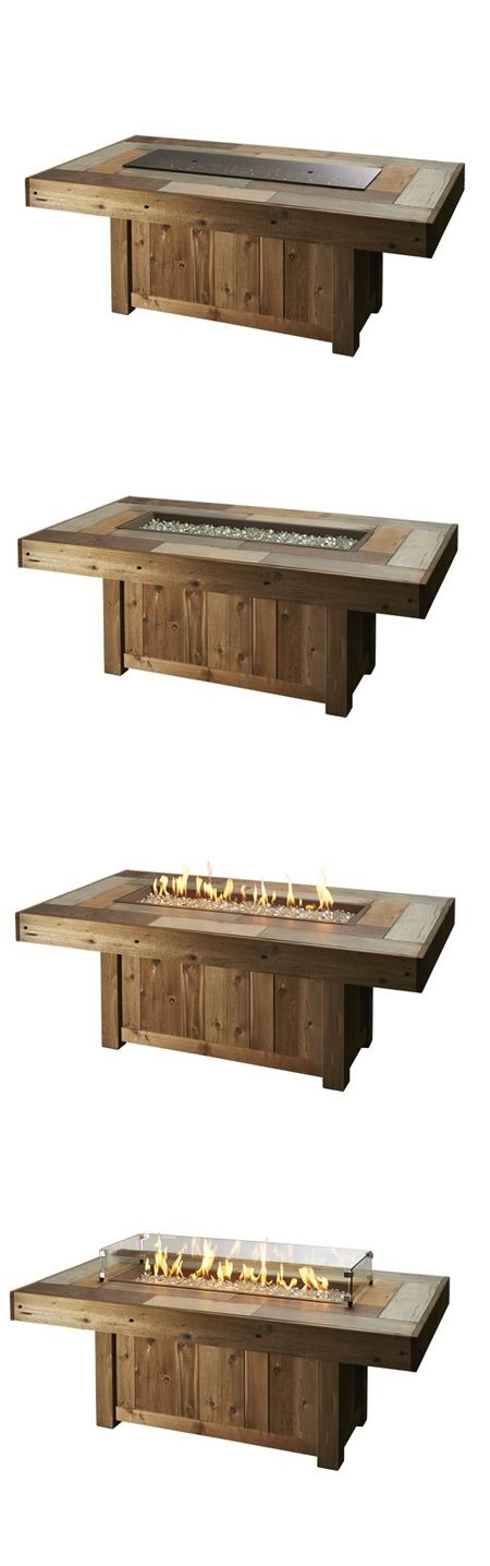 Get the look of real wood with the durability of supercast concrete, all in one beautiful fire pit table. | Vintage XL Linear gas Fire Pit Table: Woodland Direct