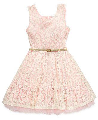 Older Flower Girl Beautees Girls Dress, Girls Sleeveless Dress with Belt