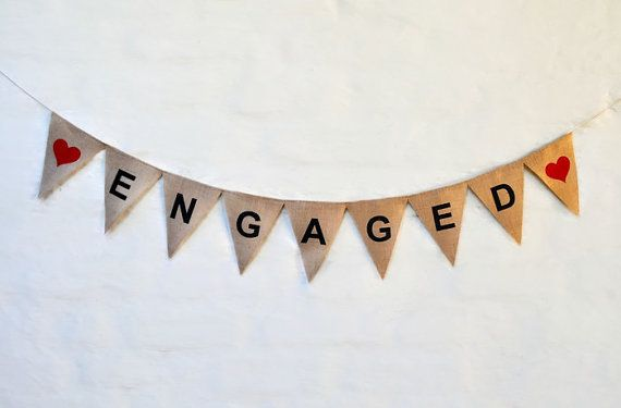 ENGAGED BANNER Hessian Burlap Wedding Celebration Engagement Party Bunting Garland Decoration hens party bride to be white hearts white text