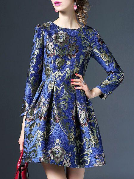 Jacquard A-line Mini Dress