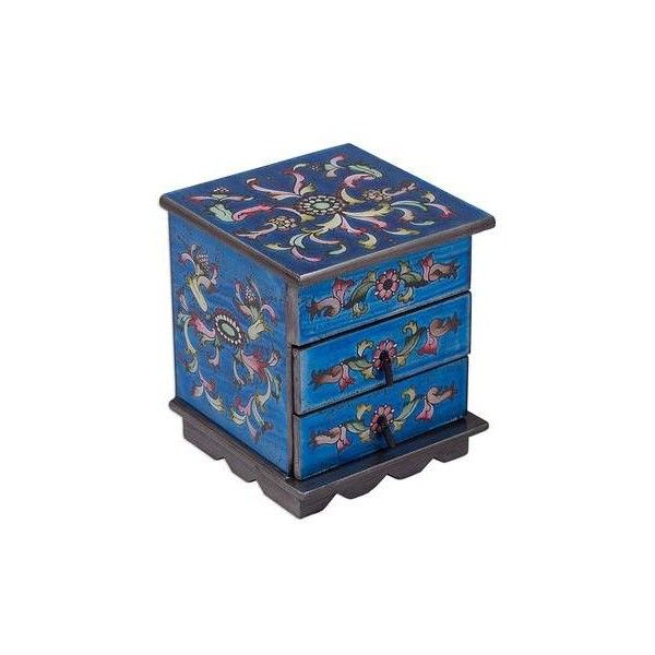 NOVICA Reverse Painted Glass Jewelry Box with Mirror ($86) ❤ liked on Polyvore featuring home, home decor, jewelry storage, blue, clothing & accessories, jewelry, jewelry boxes, reverse painted glass, jewellery box and blue home decor