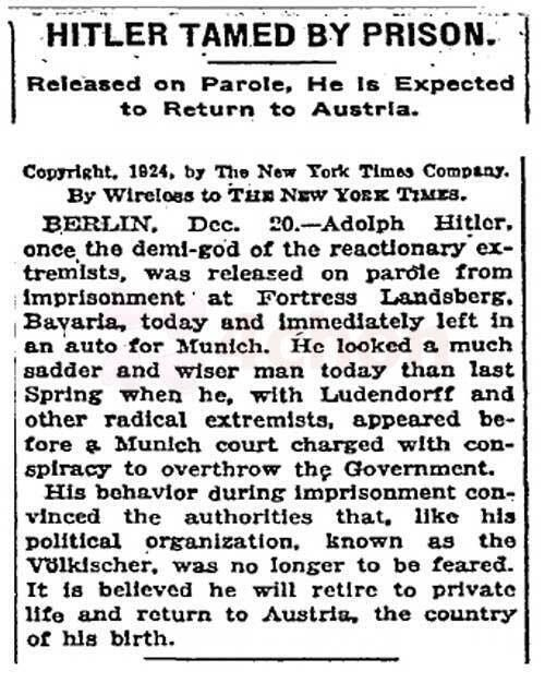 No longer to be feared, New York Times article about Adolf Hitler's release from prison, on this day in 1924. Historical Photographs