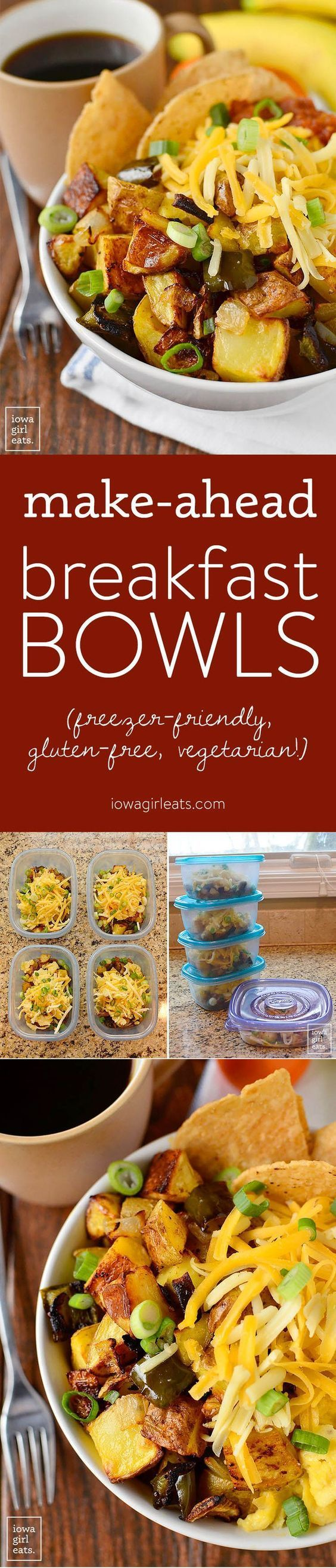 Make-Ahead Breakfast Bowls are full of filling, hearty ingredients to power you through your morning. This vegetarian and gluten-free recipe is also freezer-friendly!   http://iowagirleats.com