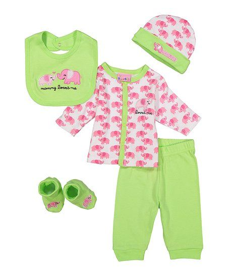 Sweet & Soft Pink & Green Elephant Loves Me Five-Piece Layette Set - Infant | zulily