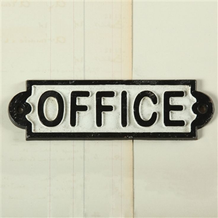 add a vintage feel to your office door with this cast iron office sign or add a touch of whimsy and display on the outside of a bathroom door