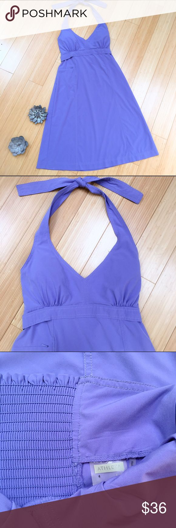 """ATHLETA periwinkle halter dress, 4. SO NICE halter dress by Athleta. Bra cups so you can ditch the bra (Hallelujah July and August!!!). Sz 4, great condition. Dress length is about 41"""". Athleta Dresses Midi"""