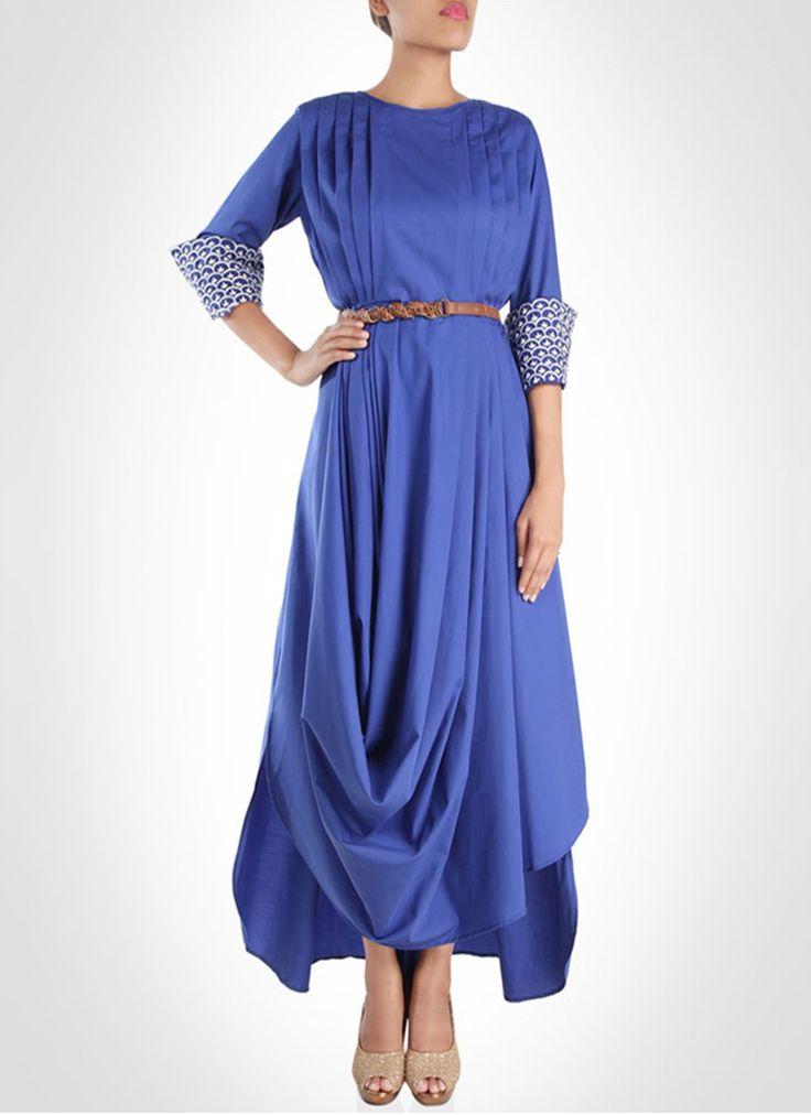 Cbazaar Blue Karieshma Sarnaa Drape Style Gown