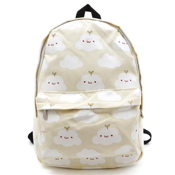 "Color:pink.sky blue.green.light yellow.Size:Height:39cm/15.21"".Width:30cm/11.70"".Thick:17cm/6.63"".Fabric material:canvas.Tips: *Please double check above size a Cute cartoon clouds printing harajuku backpack"