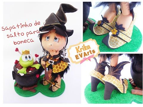 Krika.Com - Sapato de salto para boneca - Modelo Bruxinha - YouTube