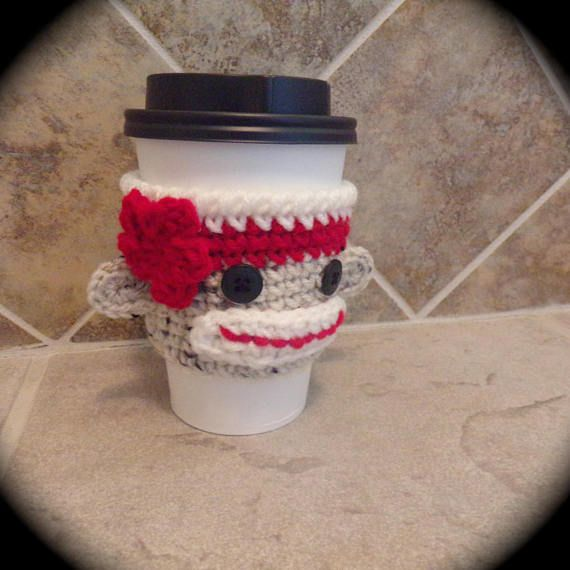 Crochet Sock Monkey To Go Coffee Cup Cozy or Sleeve  made to