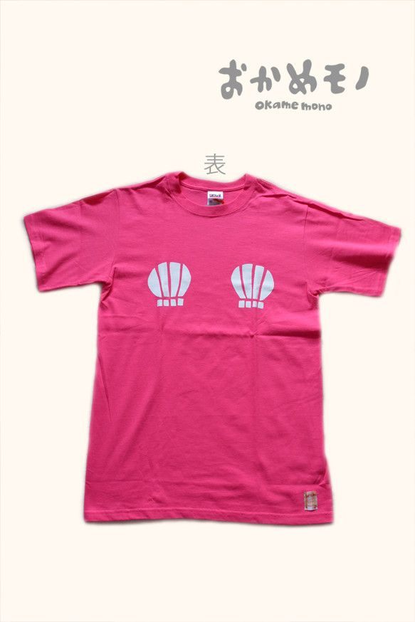 ピンクのTシャツに、前面は女性の憧れ【おっぱい貝殻】を背面はオリジナルデザインの人魚むすめをアイロンプリントでくっつけてみました。このTシャツを着ると、注目さ...|ハンドメイド、手作り、手仕事品の通販・販売・購入ならCreema。