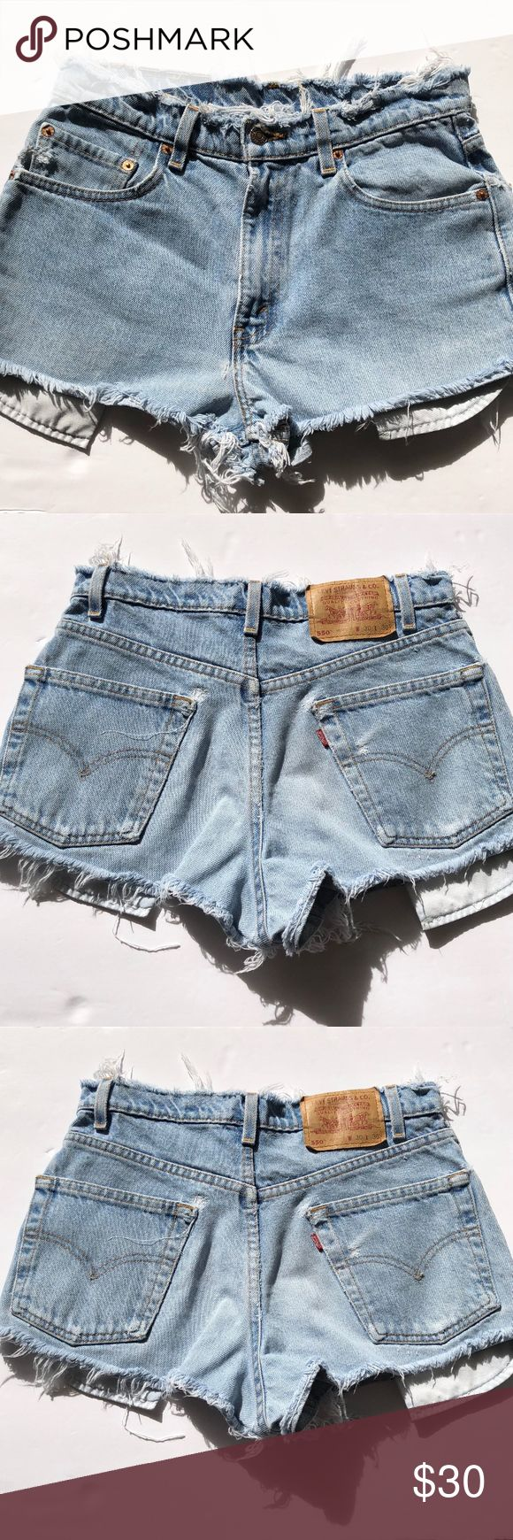 """High-Waste """"Cut-off"""" Levi Denim Shorts Cute short shorts, hand cut from Levi 505 Denim. PLEASE READ --->These are a sized as 30 but fit more like a 27/28 even 26/27<--PLEASE READ  They are short but cover your cheeks! Great for festivals and beach days. Get them now and be ready for your summer adventures! Levi's Shorts Jean Shorts"""