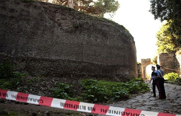 Pompeii wall collapses, despite new conservation initiative. A 2,000-year old wall surrounding an ancient villa at Pompeii has collapsed (I believe around April 22nd, 2012) – just two weeks after the Italian government launched a 105 million euro project to save the archaeological site. The Special Archaeological Superintendent for Naples and Pompeii confirmed the collapse of the red-frescoed wall next to an unidentified villa in an area already closed to the public.