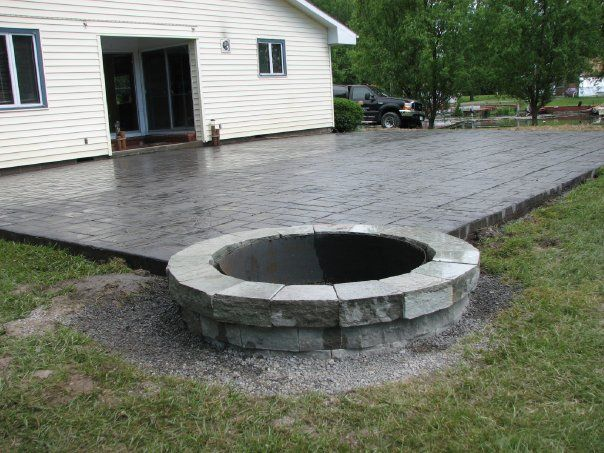 Incredible Concrete Patio Ideas With Fire Pit Concrete Patio Designs  Layouts Design Decorating 823506 Patio
