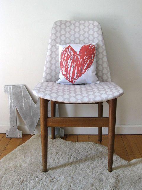 Raindrops chair + Mum's big heart pillow custom fabric by Ninaribena