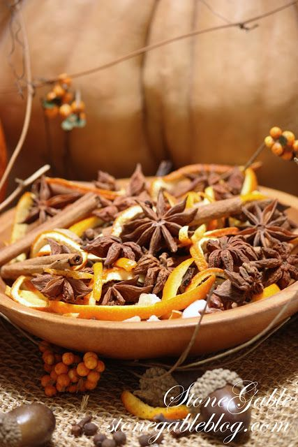 The crisp smell of fall is in the air…and around StoneGable so is the warm aroma of cinnamon and cloves and ginger and vanilla all the warm fragrances associated with Autumn! Simmering stove-top potpourri is the perfect way to invoke the cozy feeling of fall INSIDE your home! Inexpensive and easy to make… HARVEST POTPOURRI …