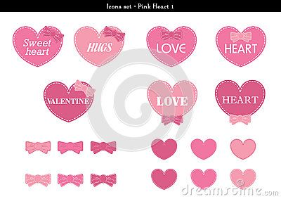 A set of icons of hearts with pink color theme