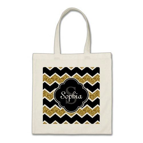 Black White Gold Glitter Chevron Pattern Tote Bag