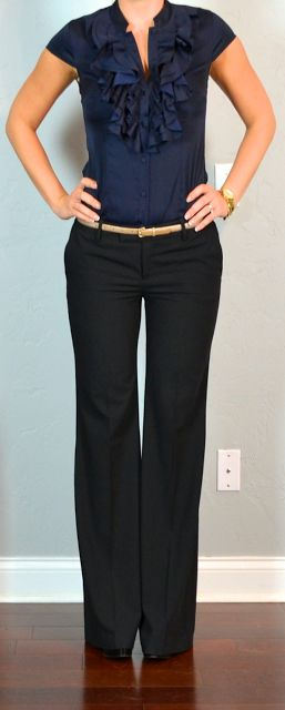 outfit post: navy ruffle blouse, black 'editor' pants, gold belt
