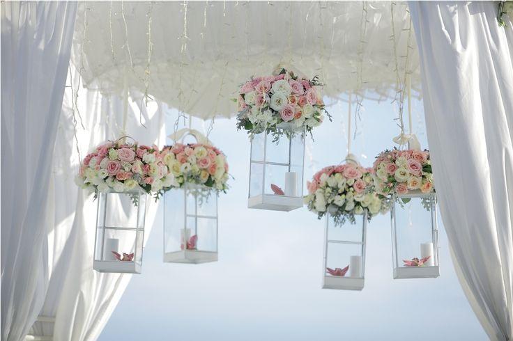 Canopy adorned with lanterns by Tirtha Bridal Uluwatu Bali