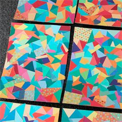 My first grade art project geometric color decoupage mod for Cool art projects with paper