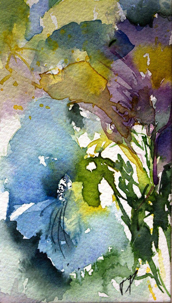 Petit instant N° 230 - Peinture,  15x8 cm ©2014 par Véronique Piaser-Moyen -                                                            Peinture contemporaine, Papier, Fleur, aquarelle, watercolor, piaser, piaser-moyen, fleurs, fleur, flower