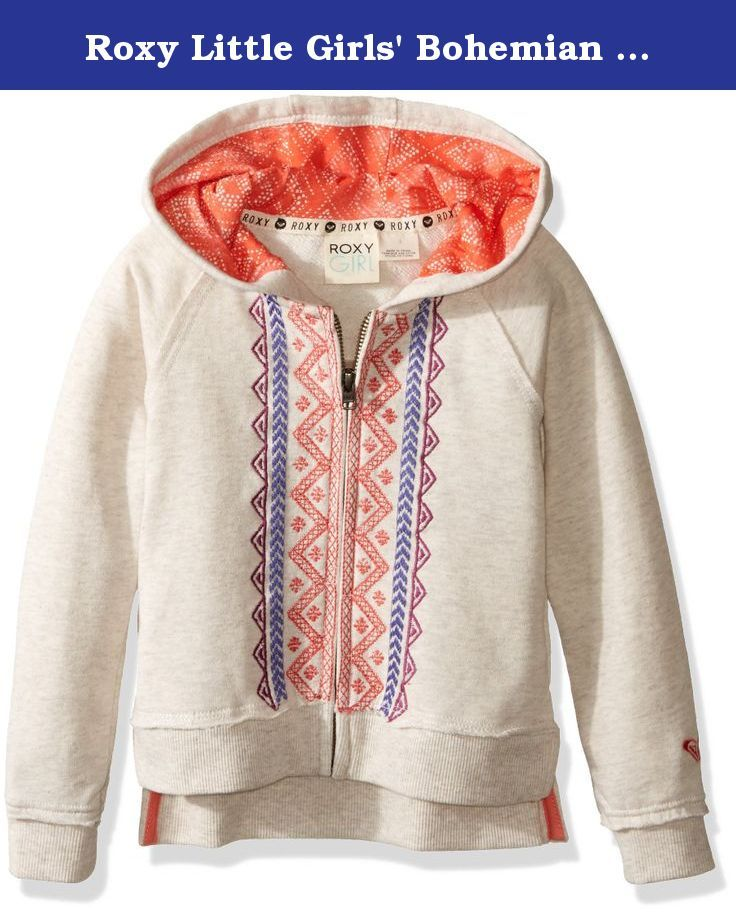 Roxy Little Girls' Bohemian Fleece Surf Hoody, Metro Heather, 6X. Fleece hooded jacket with bohemian pattern on both sides of zipper.