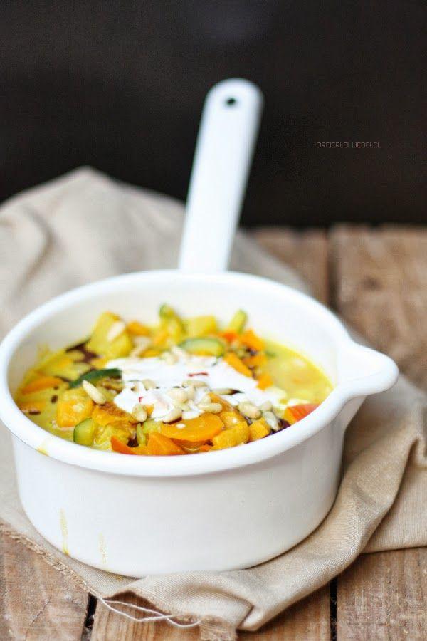 Cremiges Süßkartoffel-Kürbis-Curry (Creamy sweet potato and pumpkin curry) von http://dreierlei-liebelei.blogspot.de