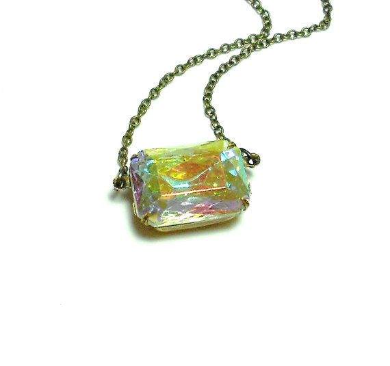 Aurora Borealis Necklace, Art Deco Necklace, Old Hollywood, Vintage Glass Necklace, Estate Jewelry, Choker, Iridescent, Northern Lights