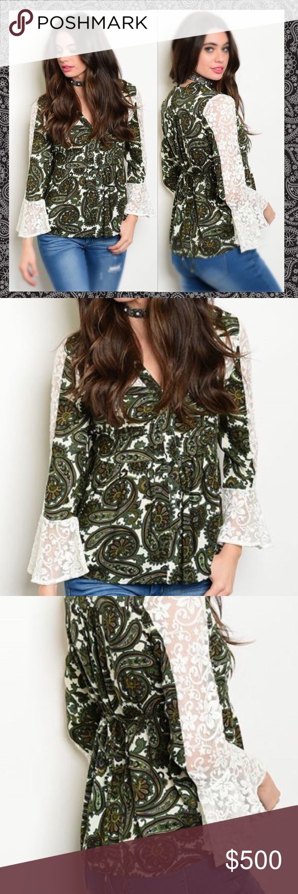 ✨COMING SOON✨Olive Paisley Laced BoHo Beauty✨ 🆕Fantastic long laced bell sleeved olive/white BoHo peasant top...relaxed fit with a slight flared waist and ties in the back for a more fitted look...flawless top! 100% Rayon✨Like this listing to be notified of arrival✨🔹NO TRADES🔹PRICE WILL BE FIRM UNLESS BUNDLED🔹💟20% OFF BUNDLES💟 LDB Tops