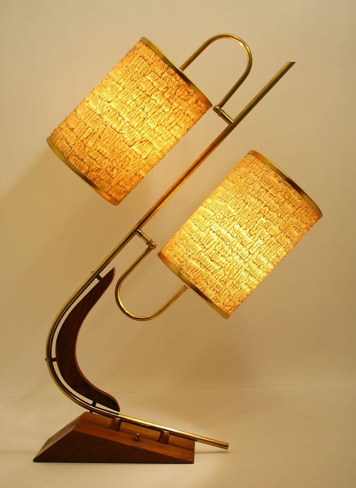 Vtg Mcm RETRO 1950s/60s MAJESTIC Boomerang ATOMIC Table LAMP w/Fiberglass Shades