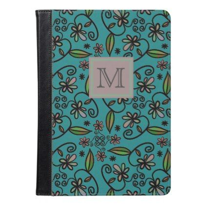 Floral Art on Teal iPad Air Case - gift for her idea diy special unique