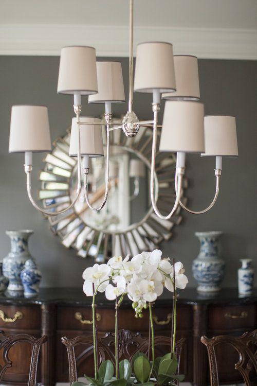 Gray dining room: Visual Comfort Vendome chandelier