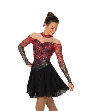 Sophisticated off-the-shoulder style lace dress that shades from ruby red to black. A dusting of silver glitter and long mesh sleeves with finger points add glamorous touches. Lined. GENERAL SIZING: S