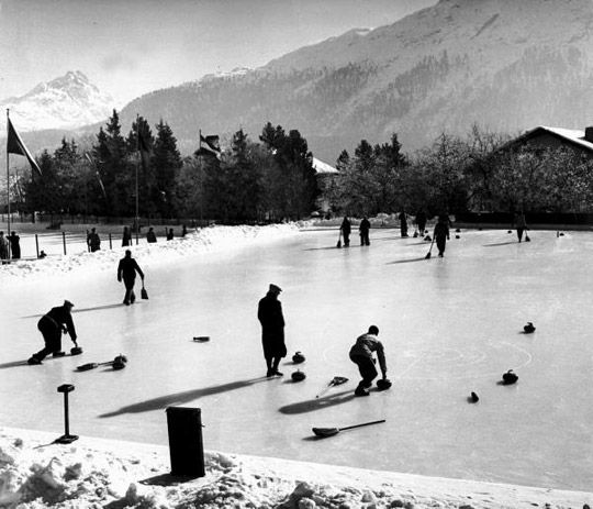 Men playing on a rink in St. Moritz, Switzerland. 1947. From LIFE.