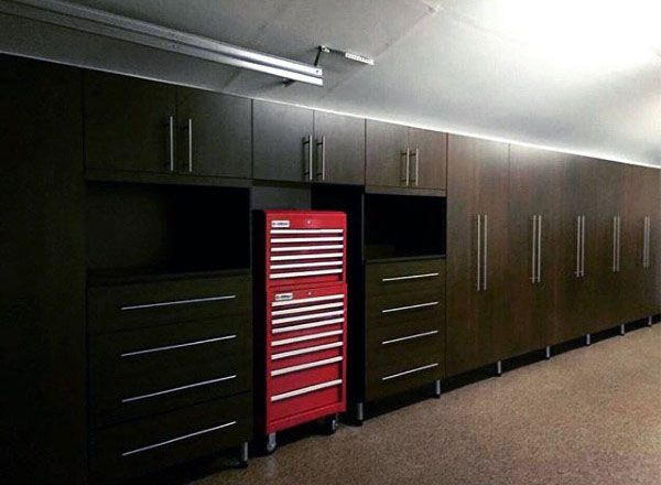 dark brown wood custom home garage storage cabinets - Garage Wall Cabinets