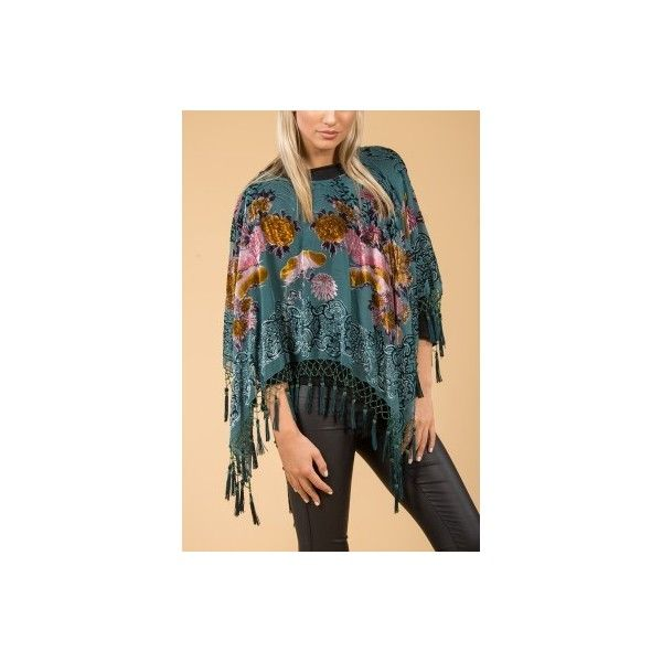 Jayley Green Silk Devore Floral Poncho found on Polyvore featuring women's fashion, outerwear, green poncho and silk poncho
