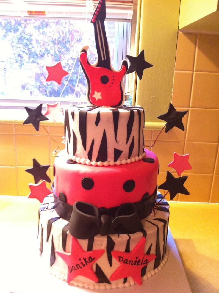 My twin little girls' rockstar birthday cake!!!