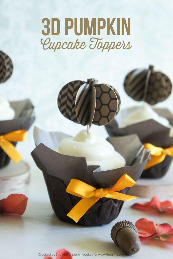 3D Pumpkin Cupcake Toppers - free printables - bjl