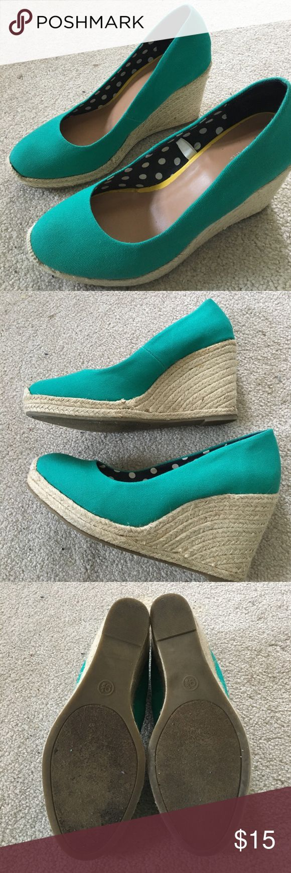 Teal wedges Great for summer and spring. Teal wedges only worn once as they were to big for me. Merona Shoes Wedges
