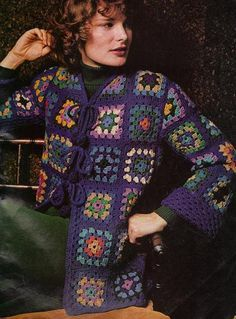 Free Crochet Granny Square Blue Jacket Pattern. This site has everything you could possibly want to make with granny squares.