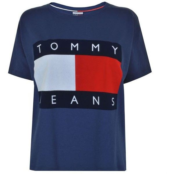 Tommy Jeans Flock T Shirt ($45) ❤ liked on Polyvore featuring tops, t-shirts, medieval blue, short sleeve tee, logo tee, tommy hilfiger, crew neck tee and crew t shirts