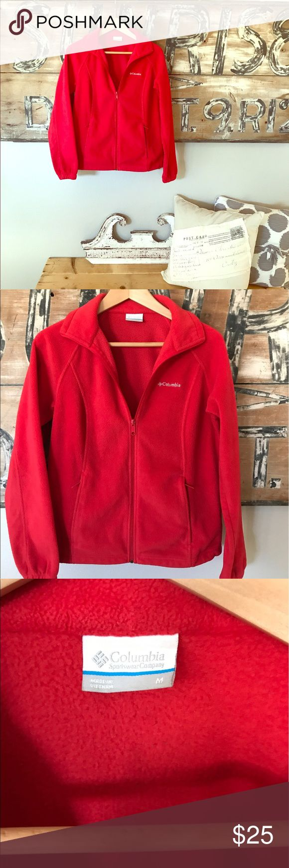 Columbia Sportswear red zip up sweater Small spot on the back Columbia Sweaters