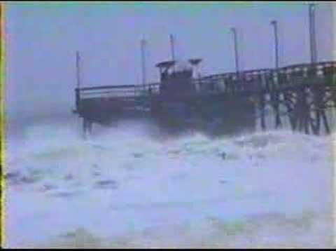 Hurricane Floyd destroys the Long Beach Pier - Long Beach, NC (now Oak Island, NC)