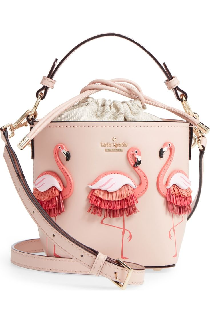 kate spade new york by the pool – flamingo pippa leather bucket bag | Nordstrom