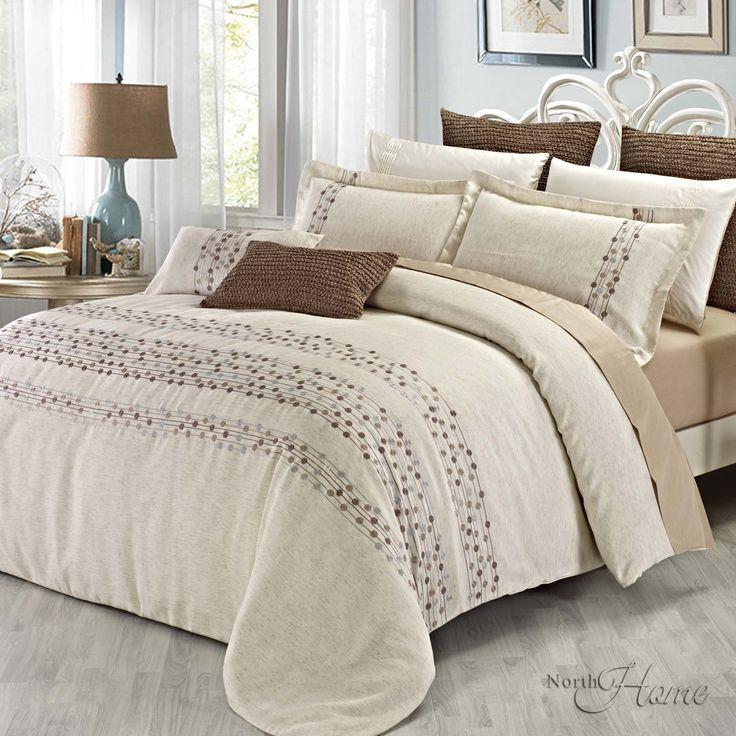 le motif de cette literie moderne est renforc e avec de magnifiques broderies et est parfait. Black Bedroom Furniture Sets. Home Design Ideas