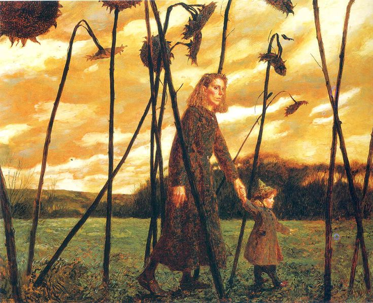 Jamie Wyeth, Giuliana and the Sunflowers, 1987